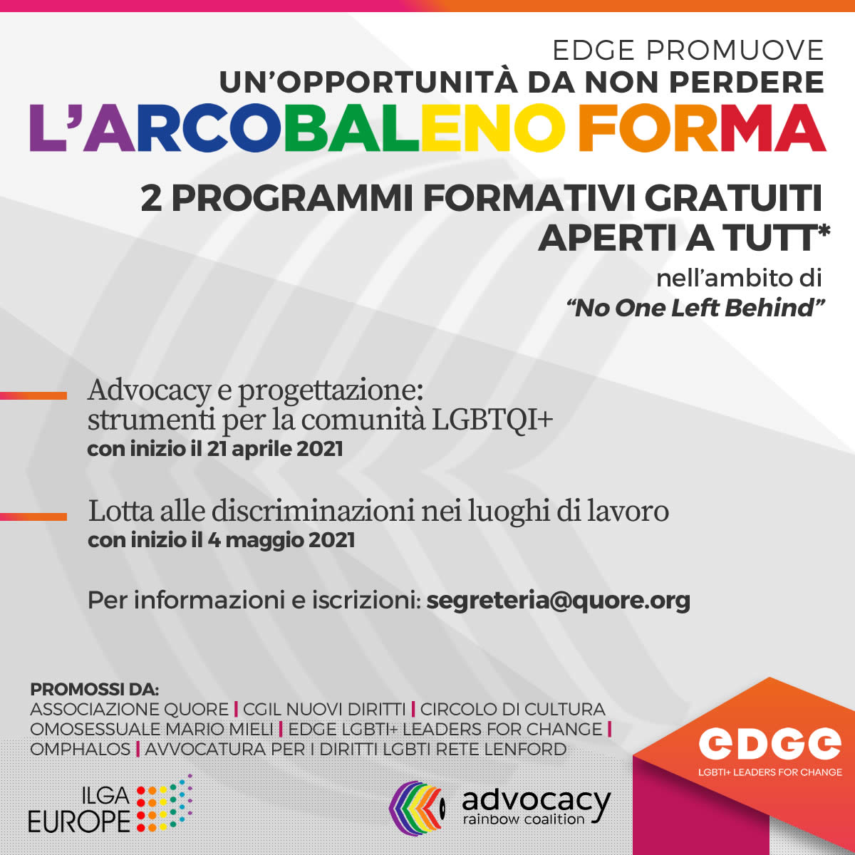 l'Arcobaleno forma | EDGE LGBTI+Leaders for change